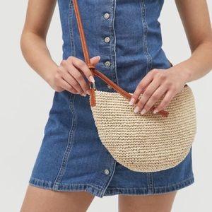Urban Outfitters straw crossbody bag, tan.